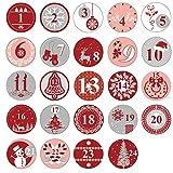 Oblique Unique® 24 Adventskalender Sticker Zahlen Aufkleber für Weihnachten zum Basteln und Verzieren - wählbar (Rot) -