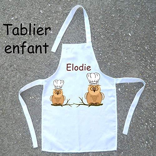 Tablier de cuisine enfant Chouette à personnaliser avec un Prénom (ex. Isabelle)