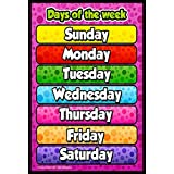 idecor Days of The Week Chart for Kids – Child Learning Wall Poster for Room & School – Size - 12x18 with Matte Finish 300 GSM Quality