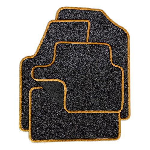 Preisvergleich Produktbild Eight Tec Handelsagentur VMELET_30383 Passgenaue Velours-Fußmatten Grau-meliert und Rand in Gold - Fahrzeugtyp in der Artikelbeschreibung beachten!