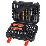 Black+Decker Bohrer & Schrauber Bitset A7188 (50-teilig, Titanium Metallbohrer 1,5-6mm, Steinbohrer 4-10mm & Holzbohrer 3-7mm