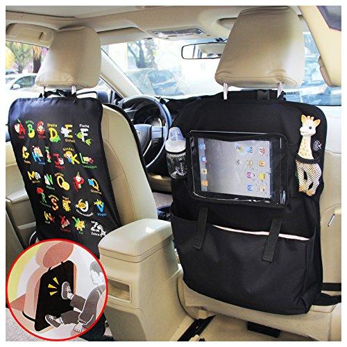 """Preisvergleich Produktbild BAYTTER® Rücksitzschoner Rückenlehnenschutz + Rücksitz Organizer mit großer Kapazität, mit durchsichtigem iPad Tablet Fach, für Kinder Früherziehung wasserdicht, mit Mustern von """"Alphabet-Muster"""", 60 x 45cm, passend für jedes Auto"""