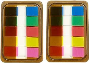 200 St/ück 1,2 x 4,5 cm klebende Index Flaggen 2 Sets 5 Farben Ordner Classify Files Tabs Haftnotizen f/ür Seiten oder Marker