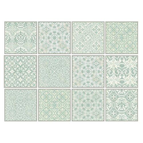 Dekorative Stickerfliesen mit tollen Motiven und Ornamenten für Wände und Fliesen | 12 teiliges Set | seidenmatt | 15x15cm | Shabby Chic Look -...