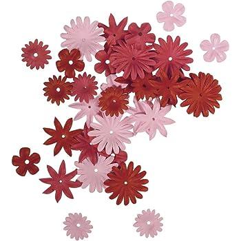 """Rayher 7895518 Fleur en Papier x 36 Pièces €"""" Tailles 1,5 à 2,5 cm €"""" Rouge/Rose"""
