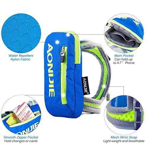 Imagen de aonijie bolsa de nylon para maratón de mano  de hidratación senderismo ciclismo running eléctrica bolso de mano para 250ml botella de agua deportes al aire libre, azul alternativa