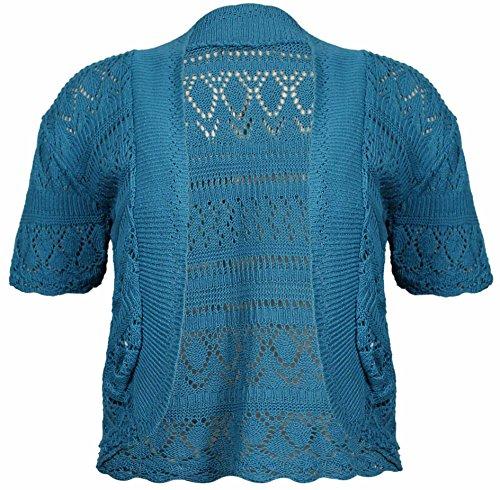 Gerippte Shrug (Damen, vorne offen, Häkel Damen Kurzarm Bolero kurze Strickjacke Bolero gestrickt, Übergröße - Blaugrün, 58-60)