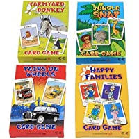 CartaMundi Ensemble de 4 jeux de cartes pour enfant en langue anglaise Farmyard Donkey, Happy Families, Jungle Snap et Pairs On Wheels