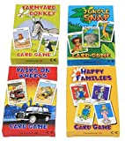 Cuatro juegos de cartas para niños de la marca Carammunmunig - Farmyard Donkey, Happy Families, Jungle Snap & Pairs On Wheels