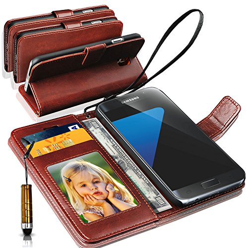 N+ India Rich Leather Stand Wallet Flip Cover Book Pouch Phone Bag Antique Leather Samsung Galaxy S7 Edge with Touch Stylus Pen Brown