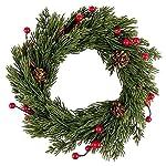 Decorazione a forma di corona, Natale 4, Ø 25cm, Conifere rami e pigne e bacche rosse