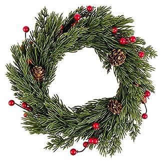 Deko-Kranz-Weihnachten-4–25cm-Koniferenzweigen-Tannenzapfen-roten-Beeren