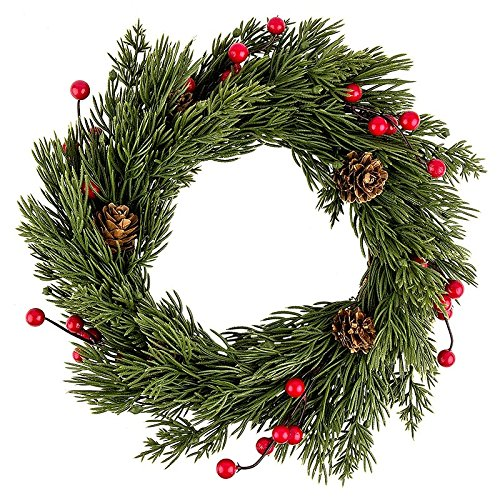 Deko-Kranz, Weihnachten 4, Ø 25cm, Koniferenzweigen & Tannenzapfen & roten Beeren