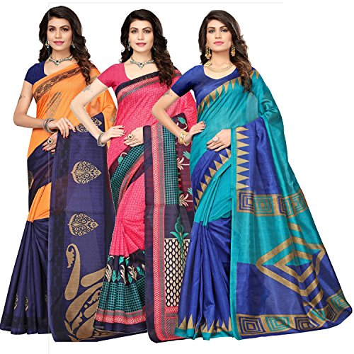 Oomph! Women's Raw Silk Printed Sarees Combo - Multi_combo3_837684blue