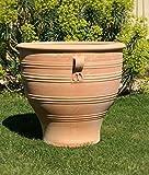 Kreta Keramik großes Pflanzgefäß mit Henkel, 70 cm von Hand gefertigt und frosfest, terracotta Topf Blumenkübel für den Garten Terrasse, Rosa 2