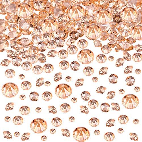 4000 Stücke Tabelle Konfetti 3 Größen Hochzeit Kristalle Acryl Diamanten Strasssteine für Geburtstag Baby Geschenkparty Party Tische (Rose Gold)
