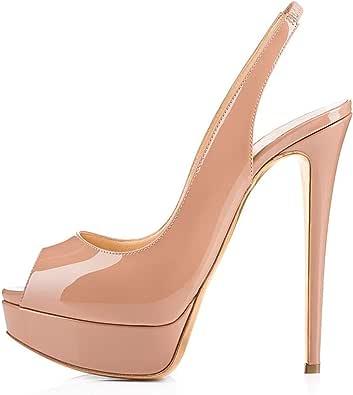 Mettesally Sandali con Cinturino alla Caviglia Donna,Scarpe col tacco donna, Peep Toe Sandali Tacco a Spillo