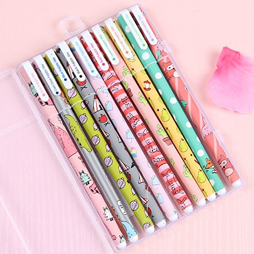 Hunpta@ Pen, 10pcs / Lot Nette Karikatur-Bunte Gel-Stift-Satz Kawaii Briefpapier kreativ
