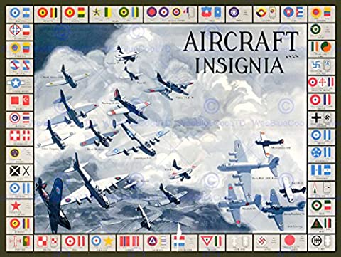 WAR MILITARY PLANES FIGHTER AIRCRAFT INSIGNIA NEW FINE ART PRINT