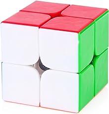 EMOB 2X2 High Speed Stickerless Speedy Rubik Magic Puzzle Cube