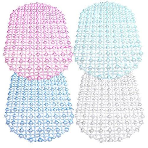 Takestop® Alfombra Alfombrilla Antideslizante cuadros bolas ovalada con ventosas 65x 35cm para ducha bañera baño goma PVC color aleatorio