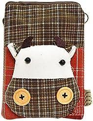 Cartoon Canvas Phone Package Version coréenne de Lovely Girl Bag Coffee Color Calf