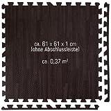 eyepower Puzzlematten-Set in Holz-Optik Laminat-Muster | 4 Bodenmatten 60x60cm mit 8 Abschlussleisten | beliebig erweiterbare Steckmatten | Spielmatte Trainingsmatte Fitness Yoga Judo Schutzmatte Unterlegmatte Bodenauflagen Deko Matte | Dunkelbraun - 6