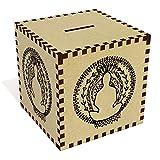 Azeeda Grande 'Motivo della Meditazione' Salvadanaio in Legno (MB00058504)
