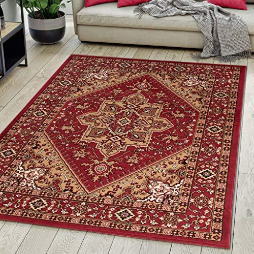 Carpeto Rugs Alfombra de salón Oriental Persa Pelo Corto Rojo Bordò 140x200 cm
