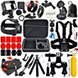 Erligpowht Accessories Bundle kit for GoPro Hero 4 3+ 3 2 1, Large Shockproof Carry Case+Chest Belt Strap Mount+Extendable Handle Monopod+Floating Handle Grip+Tripod Mount Adapter+Wrist Strap Mount for Gopro+360 Degree Rotary Clip Mount for GoPro+Head Belt Mount+Bike Handlebar Mount+Car Suction Cup Mount+Surface Quick Release Buckle+Three-way Adjustable Pivot Arm+Anti-fog Insert+ Storage Pouch