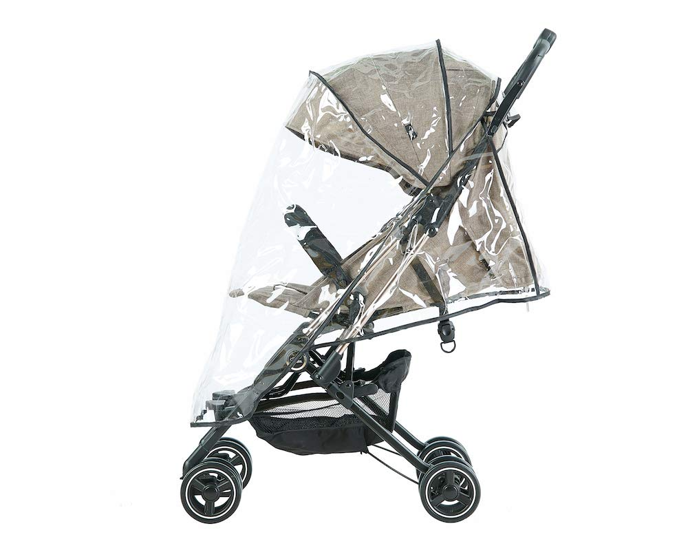 Roma Capsule² Compact Airplane Travel Buggy from Newborn Only 5.6 kgs + Rain Cover, Insect Net and Travel Bag - Tweed with a Rose Gold Chassis Roma Compact lie-back stroller - suitable from newborn to 15 kgs Includes rain cover, insect net, travel bag Locked and swivel wheels, shopping basket, 5