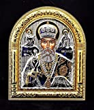 Jerusalem Heiliger Nikolaus Byzantinische Ikone Sterling-Silber 925 behandelt mit Gold