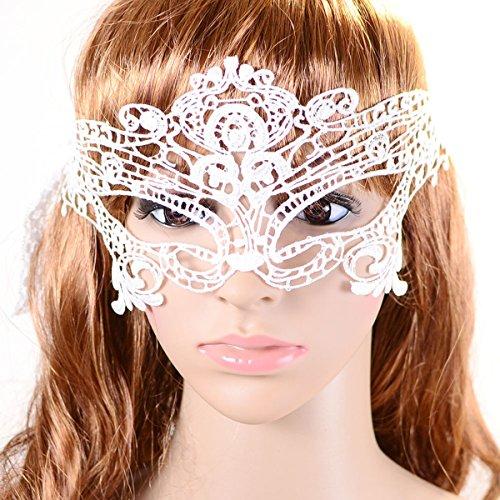 Tinksky Damen Cosplay Sexy Augen Schleier Lace Karnevalsmaske für Halloween Kostüm Party Weihnachten (Weiß)
