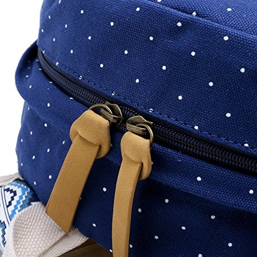 YoungSoul Mädchen Schulrucksack Teenage Rucksack Canvas Laptop Rucksäck für Universität + Umhängetasche + Segeltuch Mäppchen Blau(nur Rucksack)