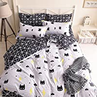 Nattey Black Cartoon Bed Pillowcase Duvet Cover Quilt Cover Set Twin Queen King Size King Black