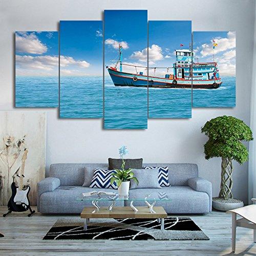 Angel Frame-foto (Moderne Leinwand Gemälde Wall Art Frame HD gedruckten Foto 5 Stück Segeln Angeln Boot Poster Home Decor Blue Sky Meerblick Bilder, 40 x 60 40 x 80 40 x 100 cm, Rahmen)