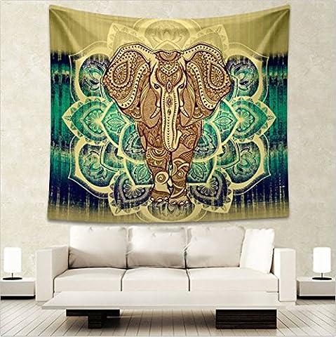 Vigvog Couvre-lit/tapisserie Style bohème/psychédélique/hippie Motif éléphant/arbre de vie/floral/mandala, C, Taille L