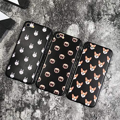hone 7 & iPhone 8, süßer Hund Corgi Husky Mops Muster Hardshell Silikon Case mit Matter Oberfläche Dünne Schutzhülle für Mädchen Jungen Frauen Geburtstag Geschenk Welpe, Husky ()