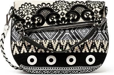 Desigual Damen Bols_Black White FOLDED Umhängetasche Weiß (Blanco)