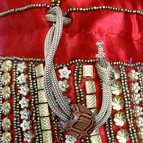 Borsa Del Partito Della Frizione Indiano Borsa Potli Etnici Fatti A Mano Sacchetto Di Perline Di Nozze Moneta Rosso e d'oro-B