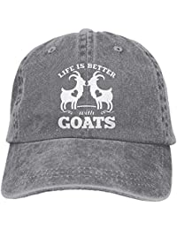 2018 Adult Fashion Cotton Denim Baseball Cap Life is Better with Goats  Classic Dad Hat Adjustable 74755eff35de