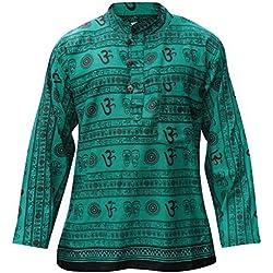 Shopoholic Fashion Camisa para hombre con cuello mao, diseño hippie verde New Green Large