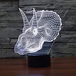 3d ilusión lámpara luz nocturna jawell dinosaurio 7colores cambiantes Touch USB mesa niza regalo juguetes decoración