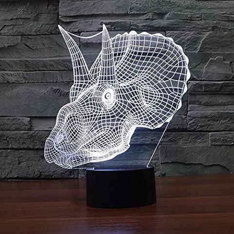 Jawell Lampe USB 7 couleurs changeantes Motif tête de dinosaure en illusion 3D