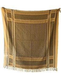 TOOGOO(R)110*110cm Military Arabian Shemagh Tactical Desert Head Scarf Fringed Shawl Stole Muffler Headdress Unisex 100% Cotton Earthy