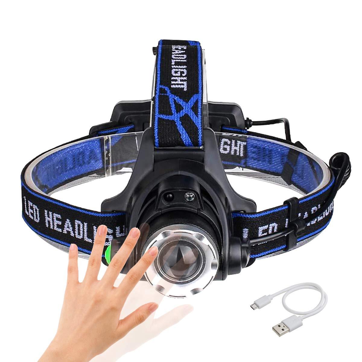 Sotical Linterna Frontal, Linterna de Cabeza Recargable USB 4 Modos de Luz LED, Impermeable Para Camping, Pesca, Ciclismo, Carrera, Caza (A)