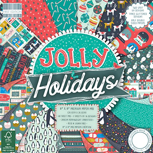 Prima edizione Natale, Multi-colour, First Edition Christmas - Jolly Holidays Premium Paper Pad 8'x8' 48 Sheets (FSC)