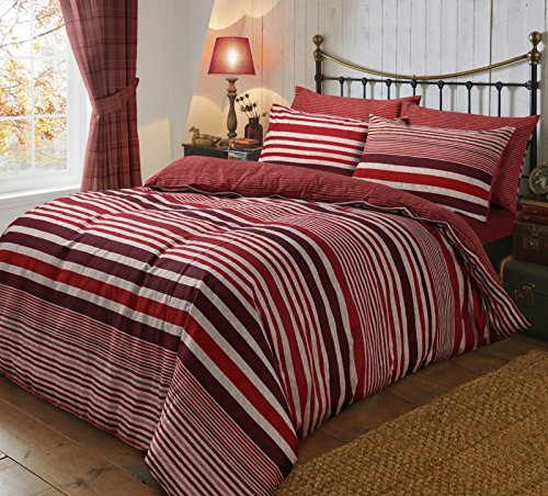 Flannel Complete Bedding Set Double Bed Includes 1 Duvet Cover + 1 Plain Fitted Sheet + 2 Pillowcases Reversible Printed 100% Brushed Cotton , Stripe Red