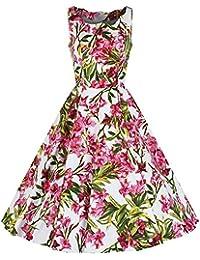 Pretty Kitty Fashion Weiß Rosa Ärmelloses Blumen Rockabilly Baumwolle 50er Kleid