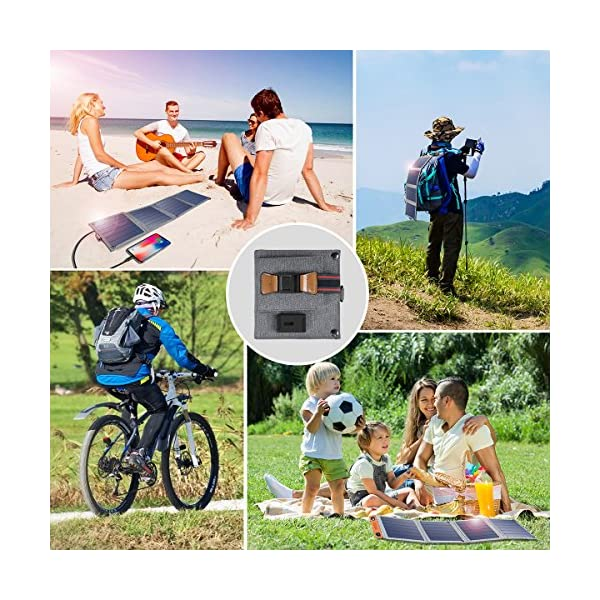 Solar Charger, CHOETECH 14W Waterproof Portable USB Outdoor Solar Panel Charger with 4 Foldable Solar Panel for… 7